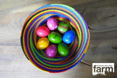 Colored Easter eggs in African basket.