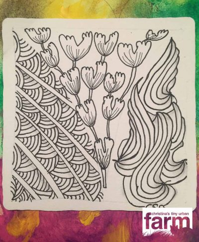 I made this Zentangle, when I was visiting my aunt in Houston last year, in her new, post-Harvey home, together with my cousin Maike for Thanksgiving.